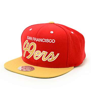 NFL Mitchell and Ness 49ers Script 2 Tone Snapback Hat