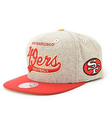 NFL Mitchell and Ness 49ers Tailsweeper Melton Strapback Hat