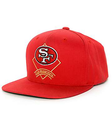 NFL Mitchell and Ness 49ers Throwback Arch Diamond Red Snapback Hat