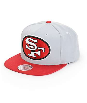 NFL Mitchell and Ness 49ers XL Logo 2 Tone Snapback Hat