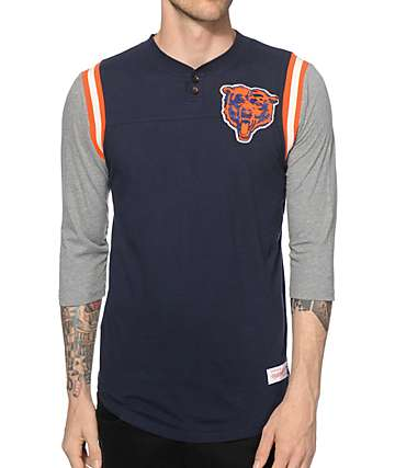 NFL Mitchell and Ness Bears Rushing Henley Baseball T-Shirt