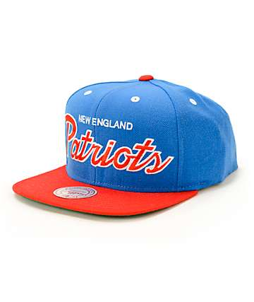 NFL Mitchell and Ness Patriots 2 Tone Script Snapback Hat