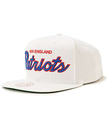 NFL Mitchell and Ness Patriots Script White Snapback Hat