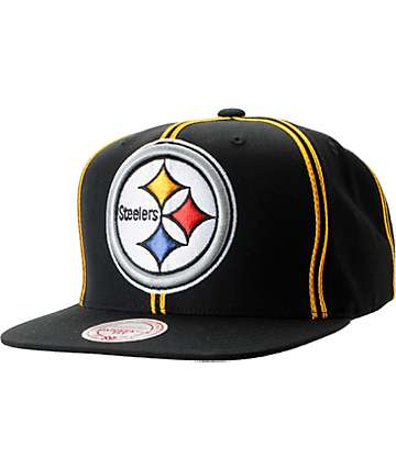 NFL Mitchell and Ness Pittsburgh Steelers Double Pinstripe Snapback Hat