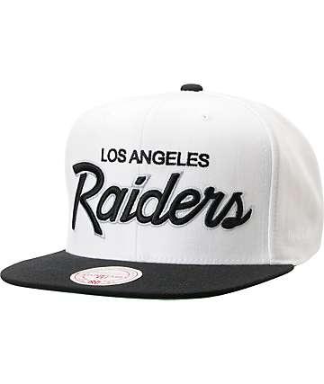 NFL Mitchell and Ness Raiders Script BOTB White Snapback Hat