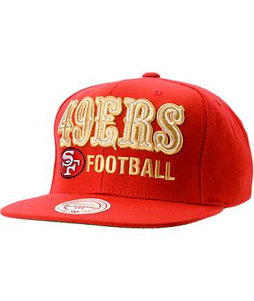 NFL Mitchell and Ness San Francisco 49ers Blockers Red Snapback Hat