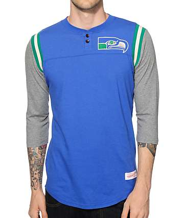 NFL Mitchell and Ness Seahawks Rushing Henley Baseball T-Shirt