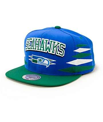 NFL Mitchell and Ness Seahawks Script 2 Tone Diamond Snapback Hat