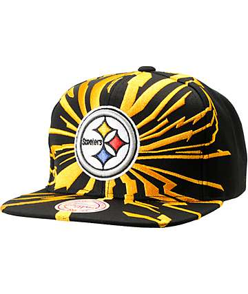 NFL Mitchell and Ness Steelers Earthquake Snapback Hat