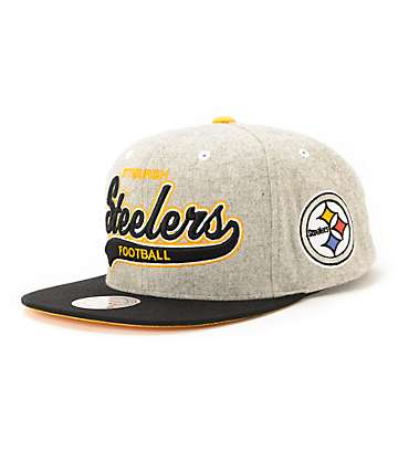 NFL Mitchell and Ness Steelers Tailsweeper Melton Strapback Hat