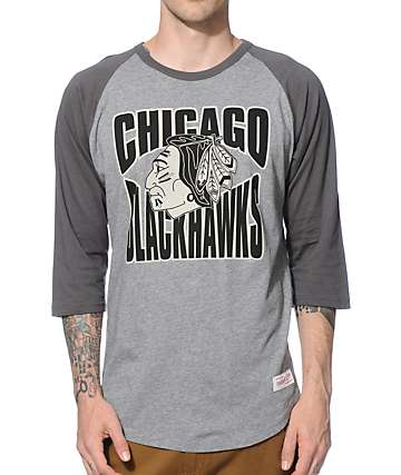 NHL Mitchell and Ness Blackhawks Baseball T-Shirt