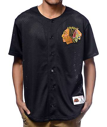 NHL Mitchell and Ness Chicago Blackhawks Black Mesh Button Down Jersey