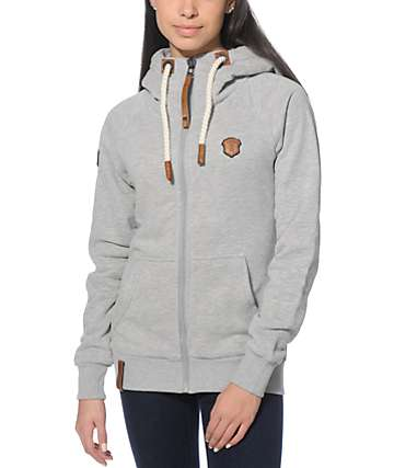 Naketano Brazzo VI Grey Melange Zip Up Hoodie