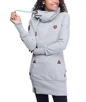 Naketano Lange IX sudadera gris larga con capucha