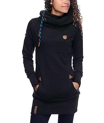 Naketano Lange IX sudadera negra larga con capucha