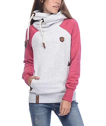 Naketano So Ein Otto II Grey & Pink Melange Hoodie