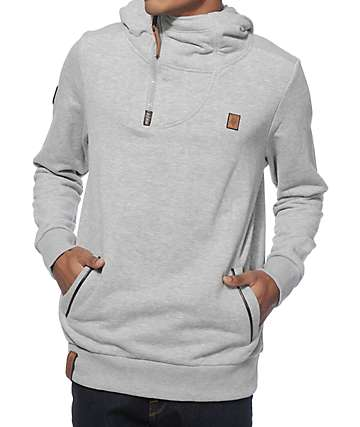 Naketano Tessarect II Grey Melange Quarter Zip Up Hoodie