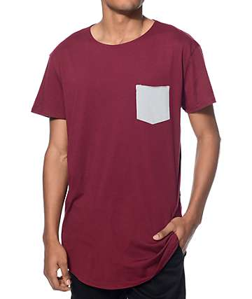 Neff Bosley Burgundy Long Pocket T-Shirt