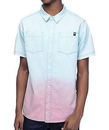 Neff Coast Teal Dip Dye Woven Button Up Shirt