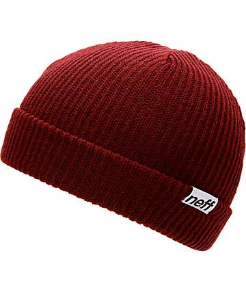 Neff Cuff Maroon Beanie