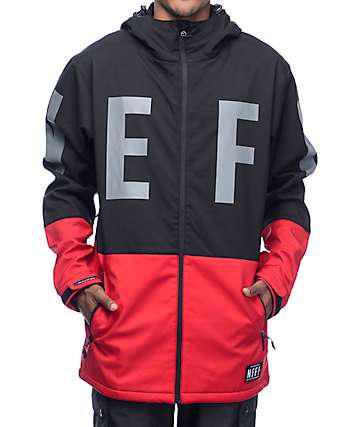 Neff Daily 10K Black & Red Softshell Snowboard Jacket