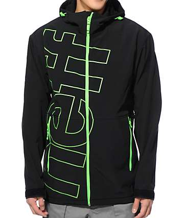 Neff Daily Black & Slime Green 10K Softshell Snowboard Jacket