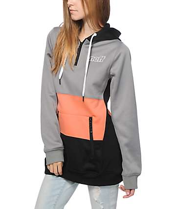 Neff Daily Shred Grey & Coral Colorblock Tech Fleece Hoodie