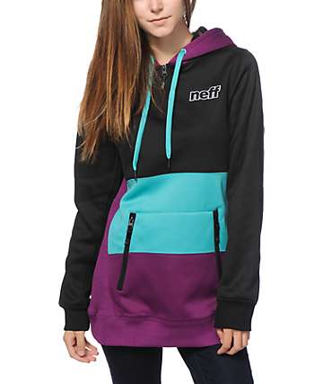 Neff Daily Shred Teal & Purple Colorblock Tech Fleece Hoodie