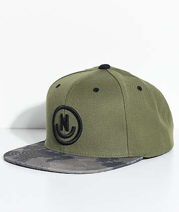 Neff Daily Smile Olive Green & Camo Snapback Hat