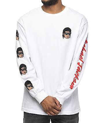 Neff Emoji Michael Jackson White Long Sleeve T-Shirt