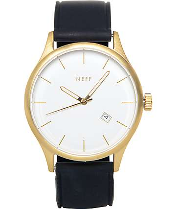 Neff Esteban Gold & Black PU Analog Watch