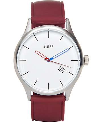 Neff Esteban Maroon & White PU Analog Watch