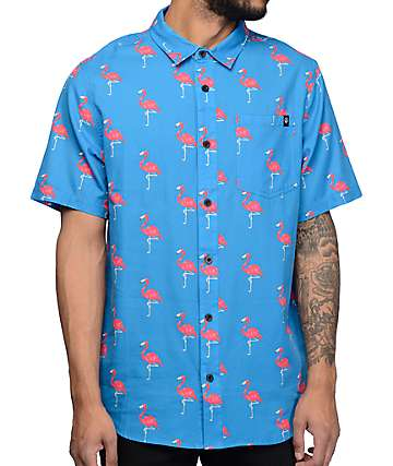 Neff Facets Flamingo Blue Short Sleeve Button Up Shirt