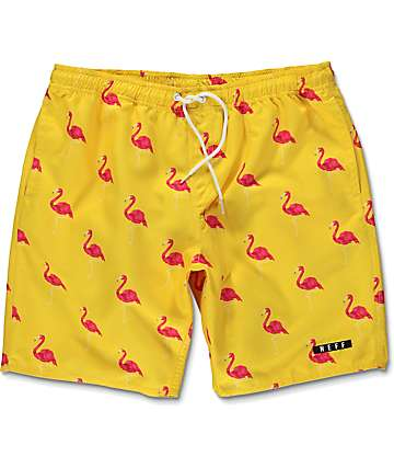 Neff Facets Flamingo Yellow Board Shorts
