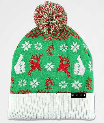 Neff Feliz Navidad Green Pattern Beanie