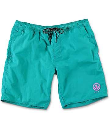 "Neff Neon Nylon 19"" board shorts en verde azulado"
