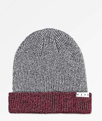 Neff Peg Black & Maroon Heather Beanie