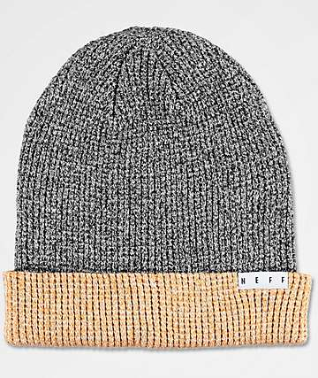 Neff Peg Twill Black & Brown Heather Beanie