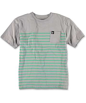 Neff Pocket Striped Boys Grey T-Shirt