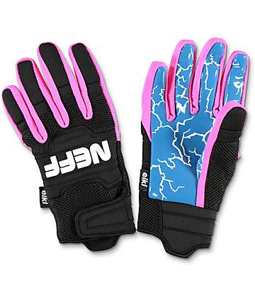 Neff Rover Eiki Pink, Blue & Black Pipe Snowboard Gloves