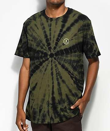 Neff Smiley camiseta verde oliva con efecto tie dye