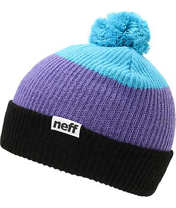 Neff Snappy Black, Purple & Blue Pom Beanie