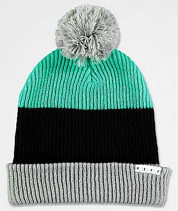 Neff Snappy Teal, Black & Grey Pom Beanie