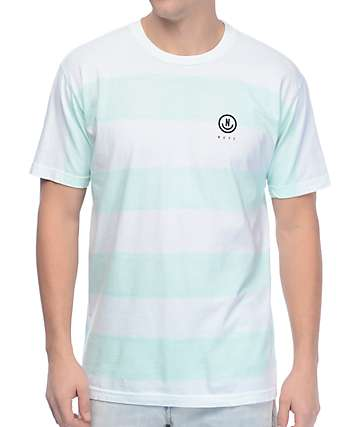 Neff Spughetti camiseta a rayas en verde azulado y blanco