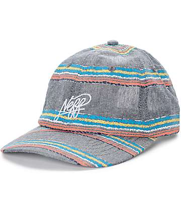 Neff Stacy Washed Black & Multi Stripe Baseball Hat