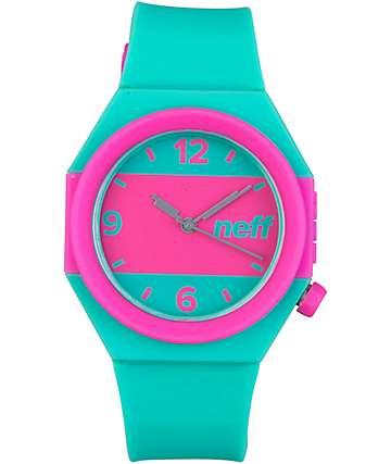 Neff Stripe reloj analógico en verde azulado y rosa