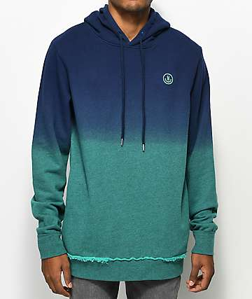 Neff Throwback Navy & Teal Dip Dyed Hoodie