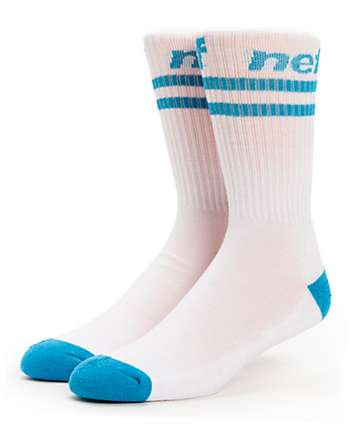 Neff Two Stripes White & Cyan Crew Socks