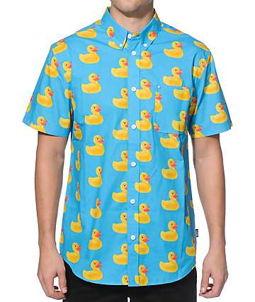 Neff Washed Out Blue Ducky Button Up Shirt