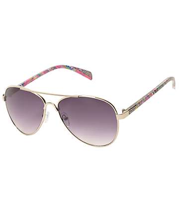 Neon Aztec Arm Aviator Sunglasses